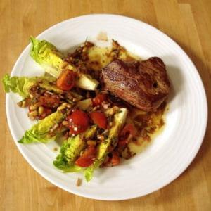 pavé de bœuf piqué au chorizo et sauce vierge