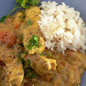 curry de poulet mangue, bananes