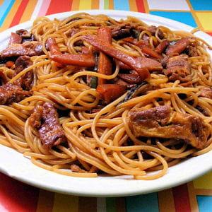 spaghettis sauce soja