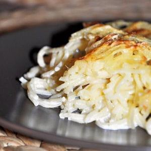 gratin de spaghettis aux 4 fromages