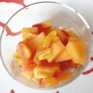 salade de tomates ananas, pastèque et melon