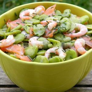 salade de fèves au saumon fumé et aux crevettes
