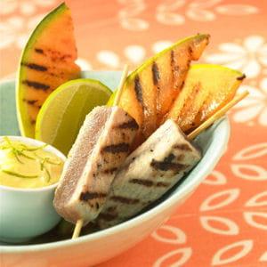 melon et thon grillé à la plancha