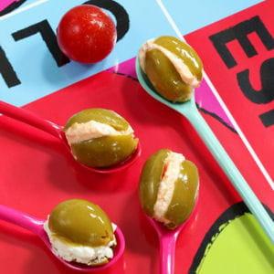 olives vertes au fromage de chèvre frais