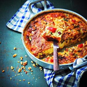 clafoutis de tomates cerise, mozzarella et pignon