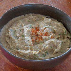 crème d'aubergines au cumin et piment d'espelette