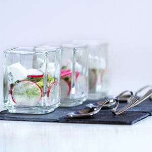 verrine concombre radis ricotta basilic