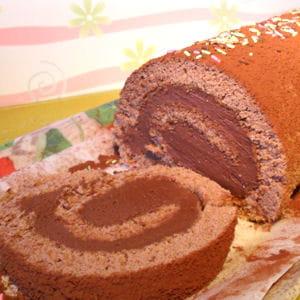biscuit roulé au cacao et ganache montée