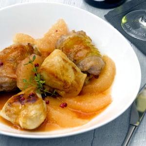 poulet rôti aux pamplemousses et aux baies roses