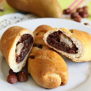 galette au chocolat, noisettes et aux poires