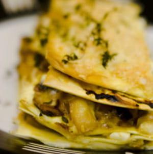 lasagnes craquantes aux trois fromages et aux légumes oubliés