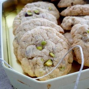 cookies aux pistaches, orange confite et cannelle