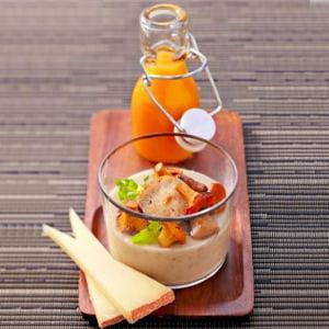 crème de champignon, appenzeller et velouté de potiron de david toutain