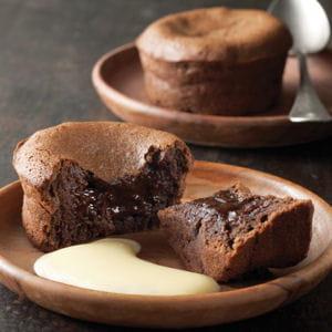 fondant au chocolat et sa crème anglaise