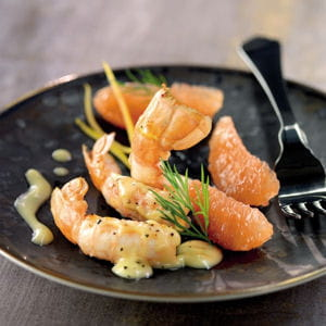 langoustines poêlées, salade de pamplemousse