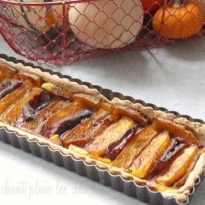 tarte à la butternut rôtie, magret fumé et épices tandoori