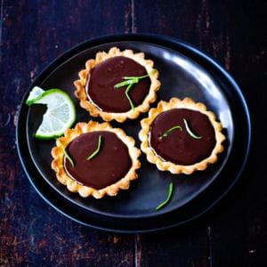 tartelettes au chocolat, gingembre et citron vert