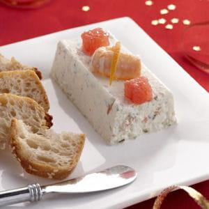 mini terrines de langoustine, pamplemousse rose et fromage fouetté