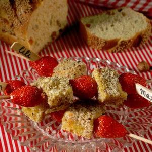 brochettes de pain perdu aux noisettes