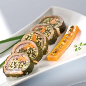sushi de lentilles vertes et saumon fumé