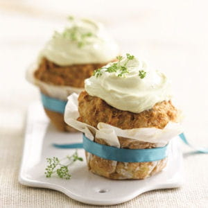 cupcake de pommes de terre et thon, sauce curcuma