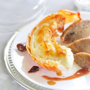 langouste rôtie au beurre d'orange, marrons laqués à la confiture de quetsches