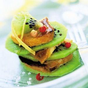 mille-feuille de kiwis et de foie gras poêlés