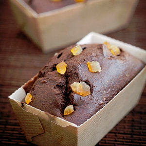 mini-cakes au chocolat, aux oranges confites et beurre d'isigny