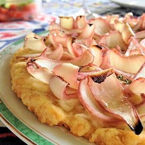 tarte aux oignons marinés