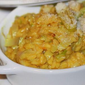 risotto aux poireaux et safran