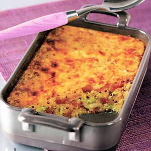gratin d'hiver quinoa, endives et jambon cru