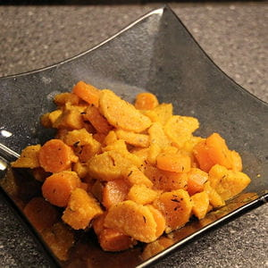 salade de patate douce au sirop d'érable et thym