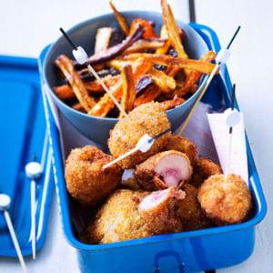 rognons de bœuf panés aux noisettes et frites de carotte
