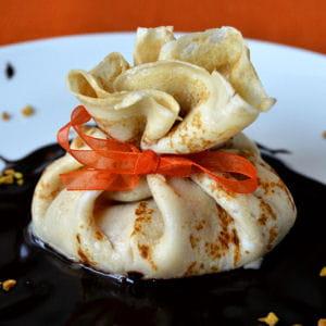aumônière mangue & noix de coco aux deux chocolats