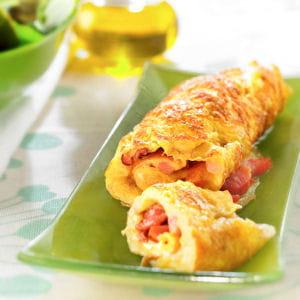 omelette au jambon ou au lard