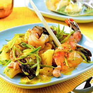 papillotes de gambas au curry
