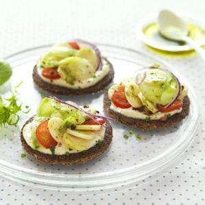 sandwichs cœurs de palmier, fromage frais