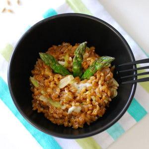 petit épeautre en risotto aux asperges et gorgonzola