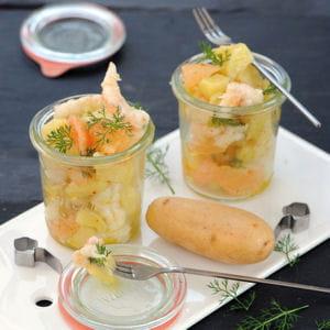 verrine de pommes de terre, langoustines