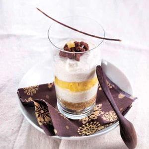 trifle au fromage à la crème elle&vire, cacao et passion-ananas