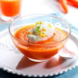 ile flottante revisitée, velouté de carottes à la vanille et oeuf à la neige aux