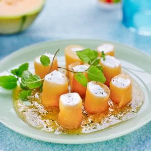 cannelloni de melon, mousse de ricotta