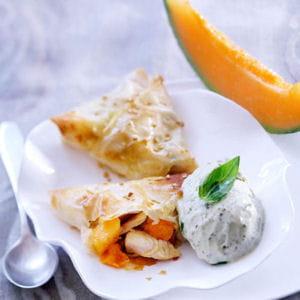 croustillant de poulet et melon chaud