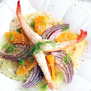 salade de crevettes, fenouil et orange