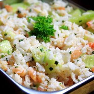 salade de riz rose et verte