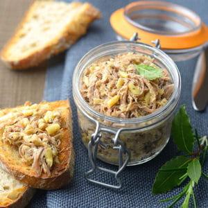 rillettes de confit de canard aux haricots beurre persillés