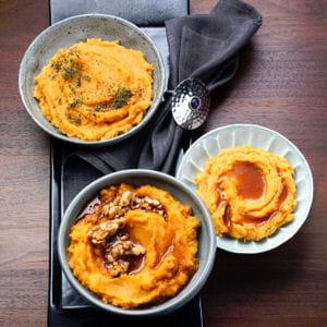 trilogie de purée de patates douces au miel