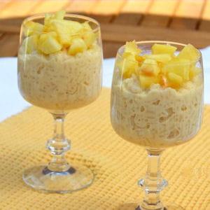 riz au lait vanillé et pommes caramélisées