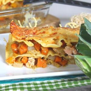 lasagnes saumon, carottes, navets et poireaux