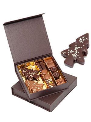 coffret de sapins en chocolat de d'lys couleurs